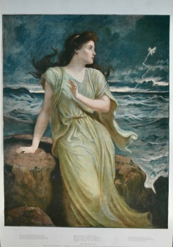 """""""MIRANDA"""" (From the picture by F. Goodall, R.A., Painted for """"The Graphic"""" Gallery of Shakespeare's Heroines).  1898."""