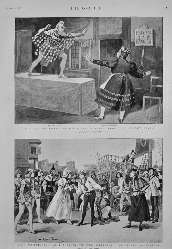 """Dick Whittington"" at the Grand Theatre, Islington : Dick Starts for Barbary.  1898."