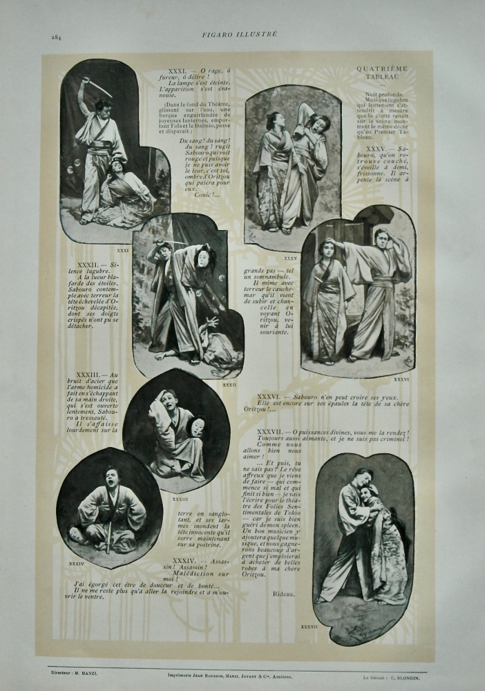 Le Mauvais Reve - Pantomime Japonaise en 4 tableaux de Felix Regamey.  1899.