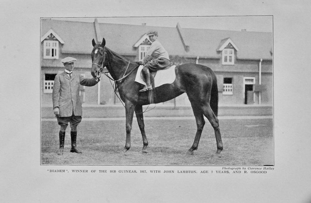 """Diadem"", winner of the 1.000 Guineas, 1917, with John Lambton, age 7 years, and R. Osgood."