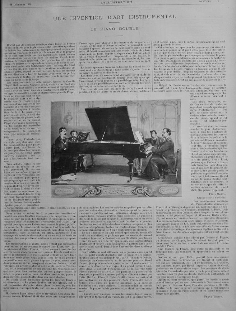 Une Invention D'art Instrumental. Le Piano Double.  (Pleyel Double Piano)  1898.