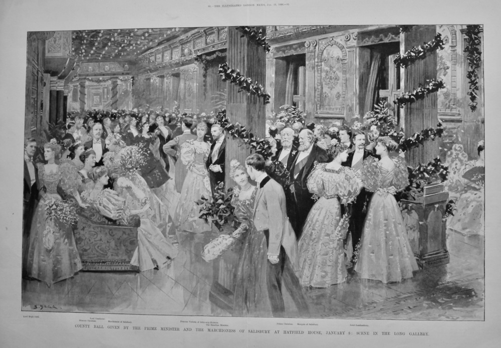 County Ball given by the Prime Minister and the Marchioness of Salisbury at Hatfield House, January 8 : Scene in the long Gallery.  1896.