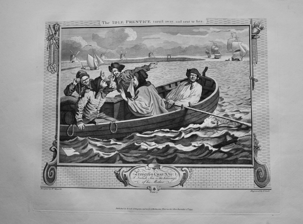 """""""Hogarth Restored""""  : The Idle Prentice turn'd away, and sent to Sea.  Plate 5. 1802."""