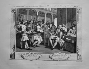 """Hogarth Restored"" : The Industrious 'Prentice Alderman of London, the Idle one brought before him & impeach'd by his Accomplice.  1802."