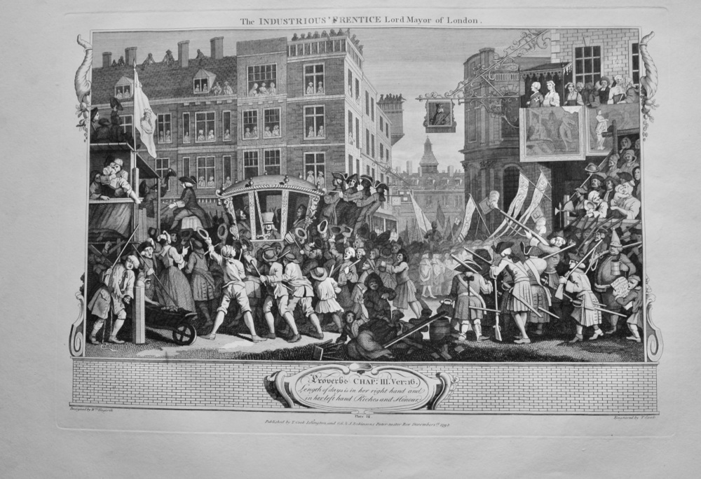 """""""Hogarth Restored"""" : The Industrious 'Prentice Lord Mayor of London.  1802."""