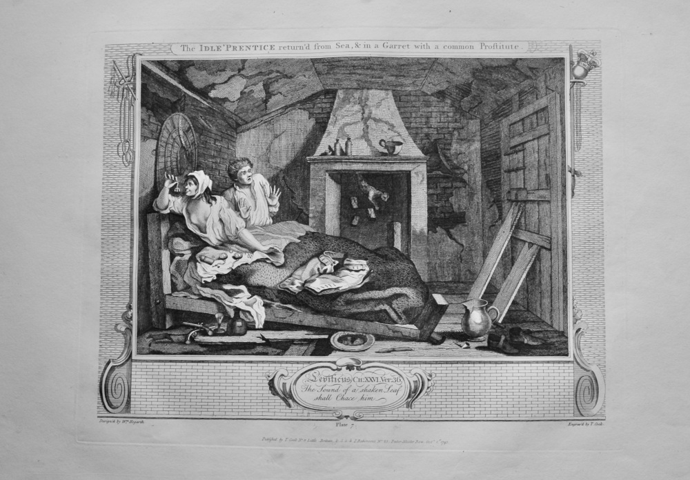 """""""Hogarth Restored"""" : The Idle 'Prentice return'd from Sea, & in a Garret with a common Proftitute.  1802."""