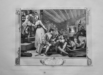 """""""Hogarth Restored,"""" : The Idle 'Prentice betrayed by his Whore, & taken in a Night Cellar with his Accomplice.  1802."""