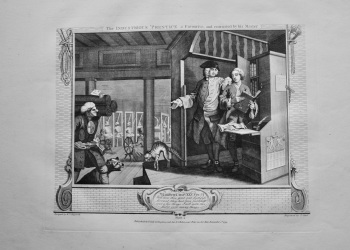 """Hogarth Restored"" : The Industrious 'Prentice a Favourite and entrusted by his Master.  1802."