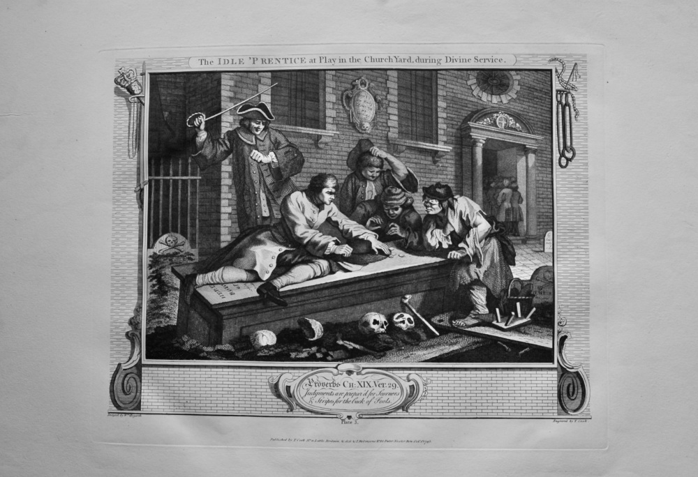 """""""Hogarth Restored"""" : The Idle 'Prentice at Play in the Church Yard, during Divine Service.  1802."""