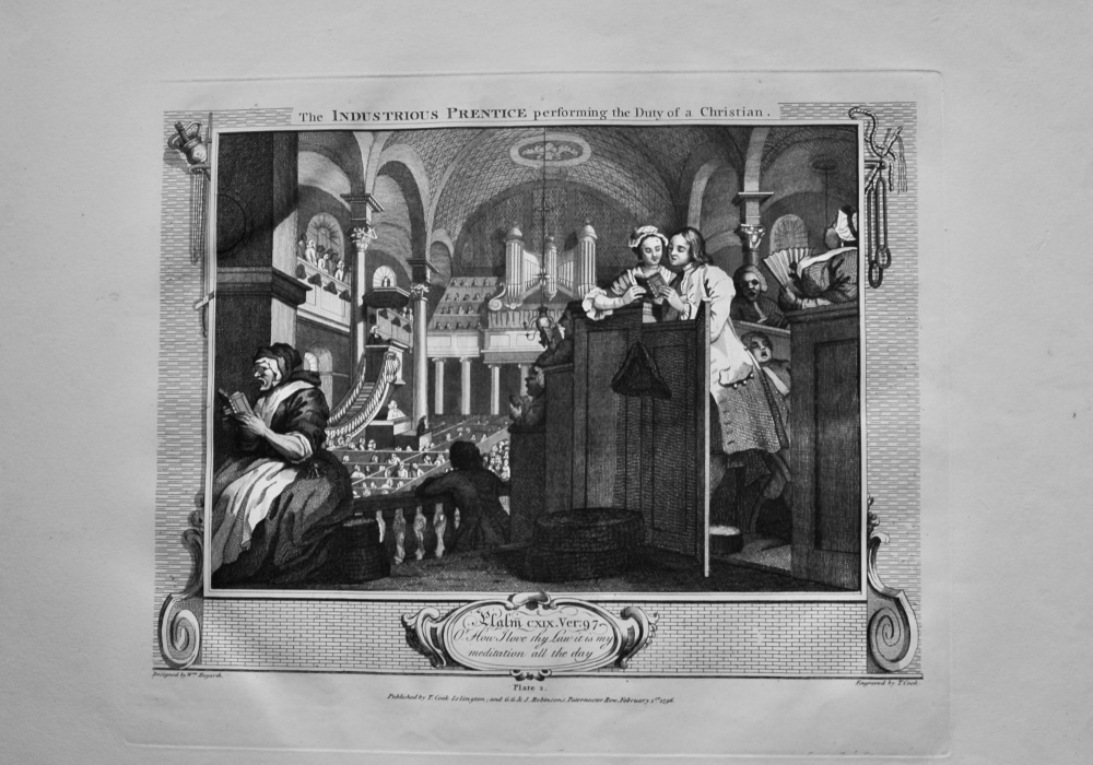 """""""Hogarth Restored"""" : The Industrious Prentice performing by Duty of a Christian.  1802."""