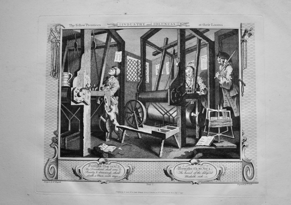 """""""Hogarth Restored"""" : Industry and Idleness.  The Fellow 'Prentices at their Looms.  1802."""