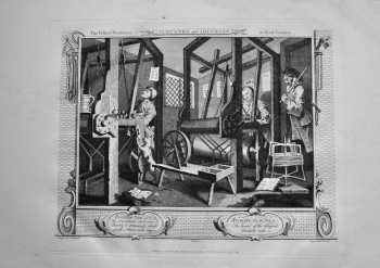 """Hogarth Restored"" : Industry and Idleness.  The Fellow 'Prentices at their Looms.  1802."