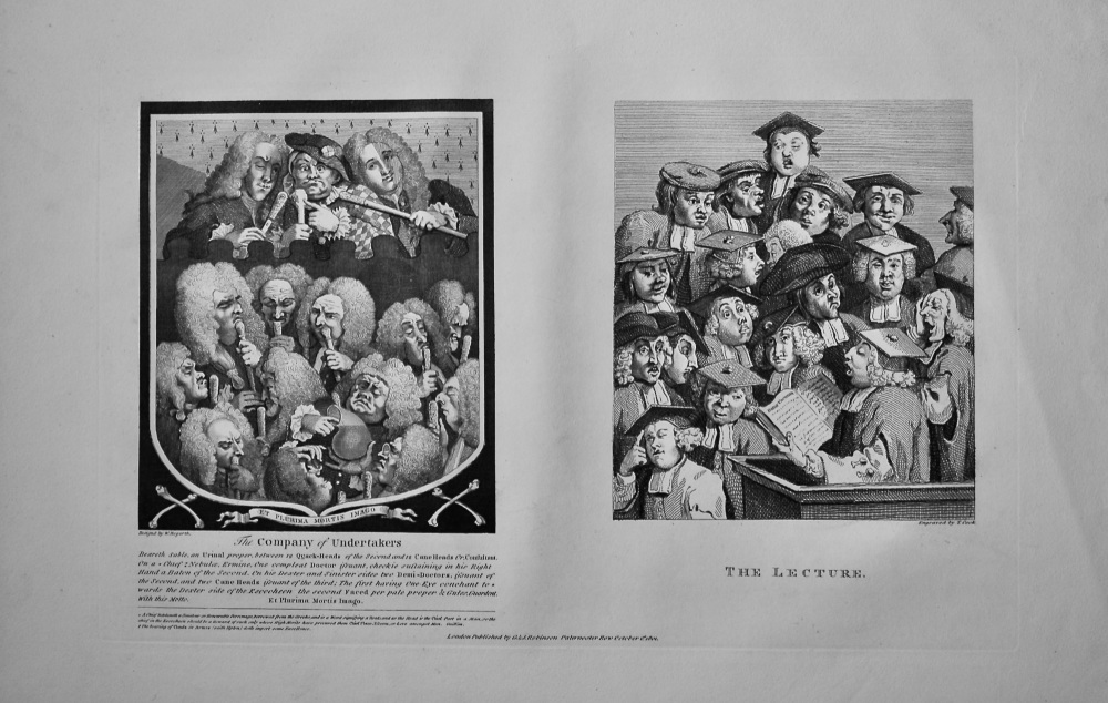 """""""Hogarth Restored"""" : The Company of Undertakers. &  The Lecture.  1802."""