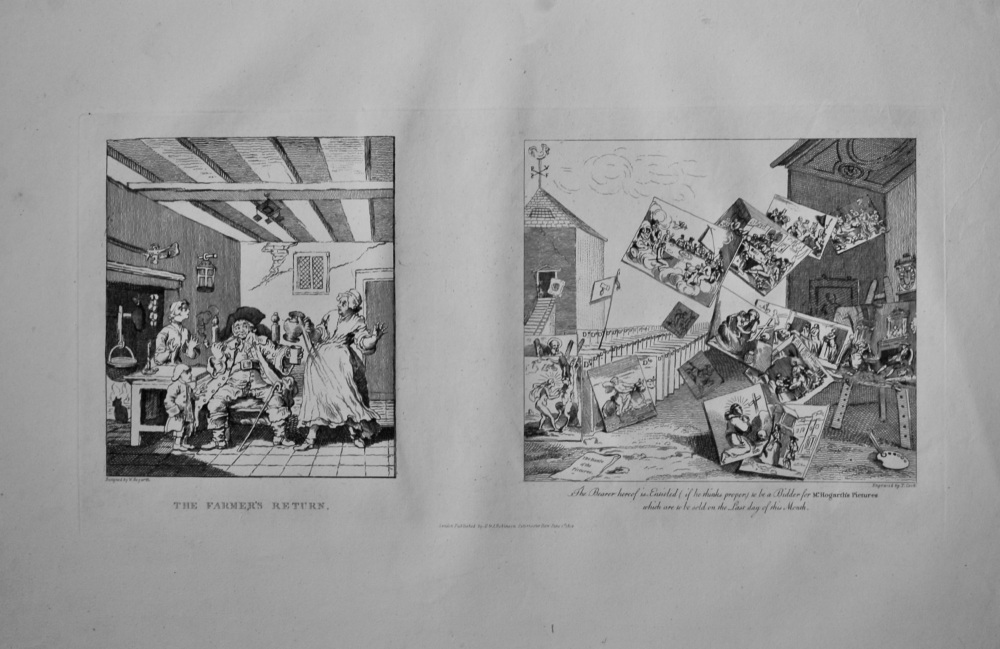 """""""Hogarth Restored"""" : """"The Farmer's Return.""""  &  """"The Battle of the Pictures."""" 1802."""