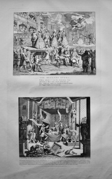 """Hogarth Restored"" : The Beggars Opera.  &   A Just view of the British Stage, or Three Heads are better than one, Scene Newgate."