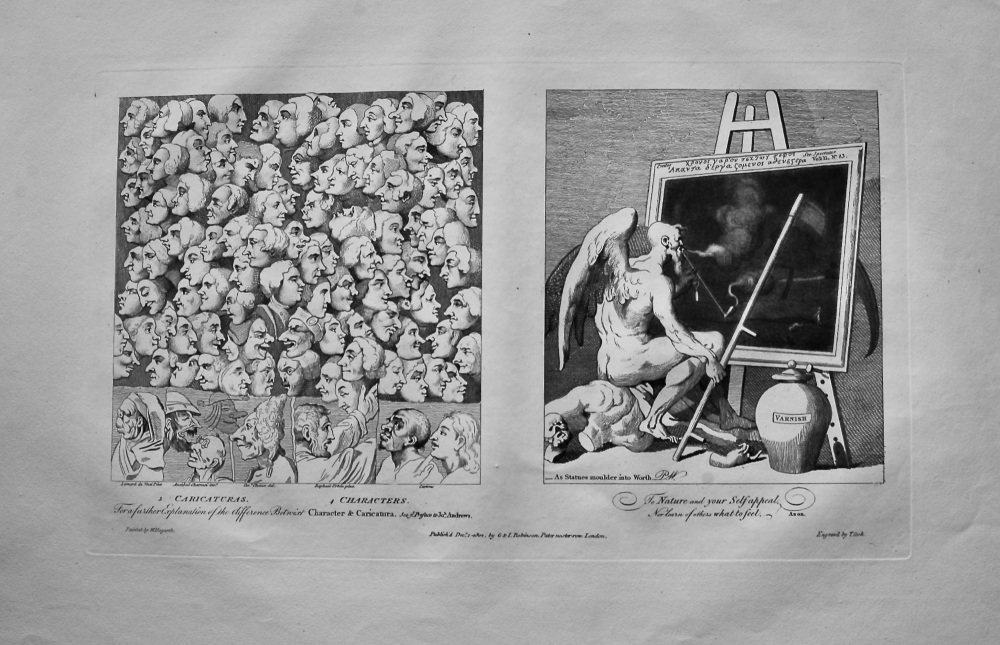 """""""Hogarth Restored"""" : """"Caricaturas. & Characters.""""  &  """"Time Smoking a Picture.'""""  1802"""