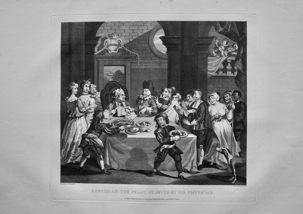 """""""Hogarth Restored""""  :  Sancho at the Feast Starved by his Physician.  1802."""