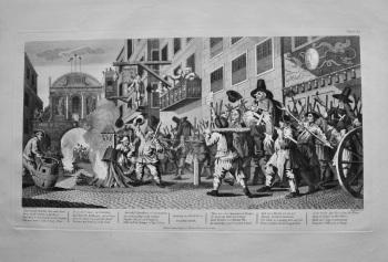 """Hogarth Restored."" : Burning the Rumps at Temple Bar. 1801."