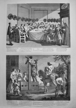 """Hogarth Restored,"" : Hudibras,- ""Triumphant   &  The Committee."" 1802."