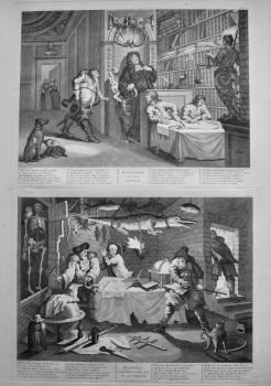 """Hogarth Restored,"" :  ""Hudibras and the Lawyer.  &   Hudibras beats Sidrophel and his man Whacum."" 1802."