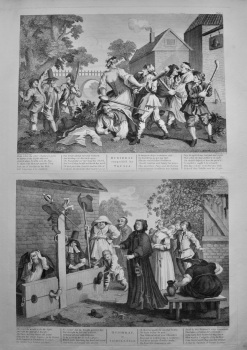 """Hogarth Restored"" : Hudibras Vanquish'd by Trussa,  &  Hudibras in Tribulation.  1802."