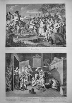 """Hogarth Restored,"" : Hudibras's first Adventure.  &  Hudibras Catechiz'd.  1802."