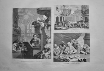 """Hogarth Restored,"" :  ""Sleeping Congregation."" "" Masquerads and Operas. Burlington Gate."" &  ""Columbus breaking the Egg."""