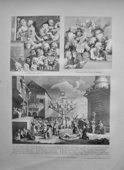 """""""Hogarth Restored,"""" : The Laughing Audience.  Rehearsal of the Oratorio of Judith.  An Emblematic print on the South Sea."""