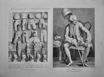 """Hogarth Restored,"" : Five Orders of Perriwigs  &  John Wilkes Esq.  1800."