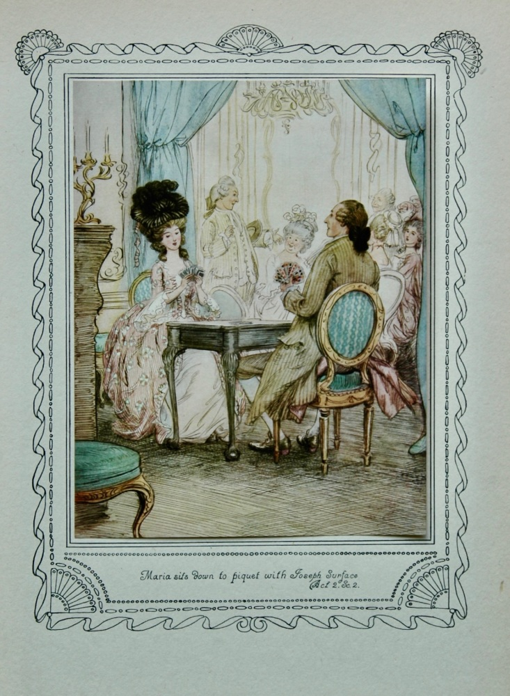 "The School for Scandal. : ""Maria sits down to piquet with Joseph Surface. Act 2. Sc. 2.""  1911."