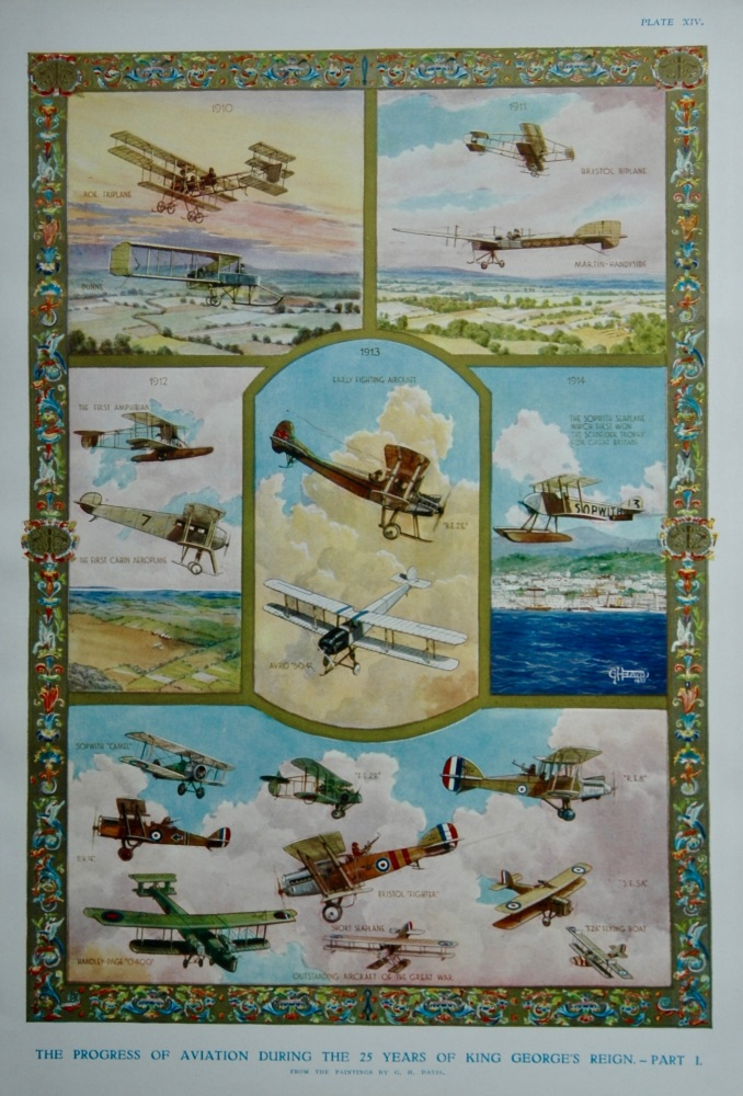 The Progress of Aviation during the 25 Years of King George's Reign.  1910 - 1935.