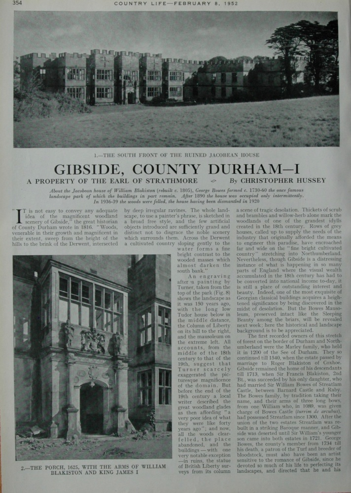 Gibside, County Durham.  1952.