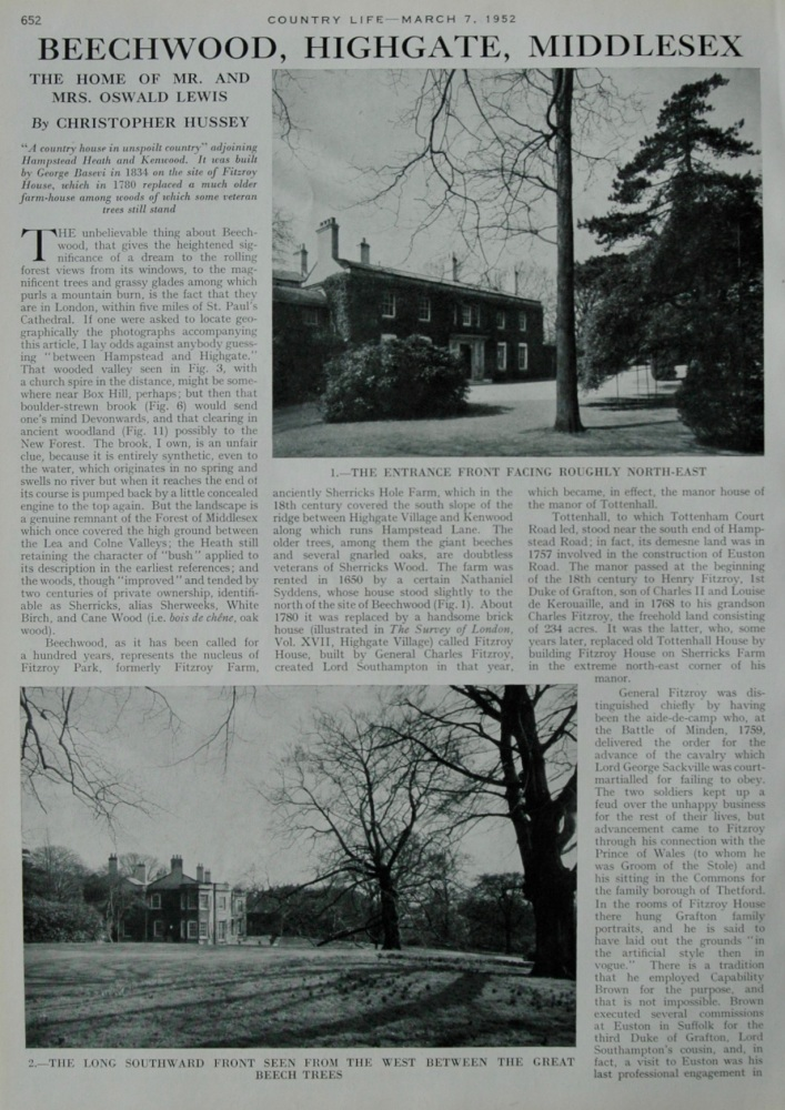 Country Life - Beechwood, Highgate, Middlesex 1952