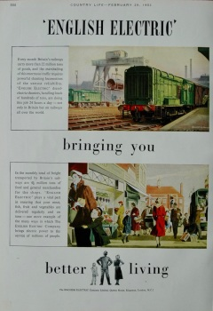 """Advert for """"English Electric"""" Trains"""