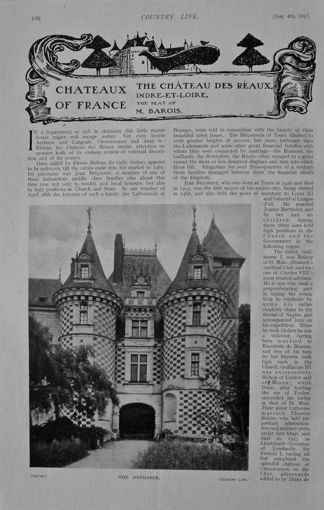 Chateau des Reaux, Inre-et-Loire - The Seat of M. Barois.  1917.