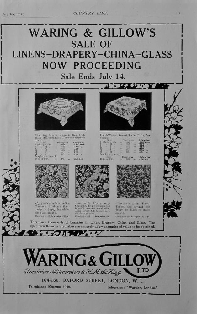 Waring & Gillow Sale advert