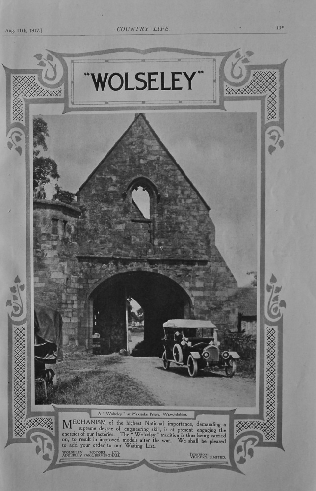 Wolseley (Maxstoke Priory) Advert