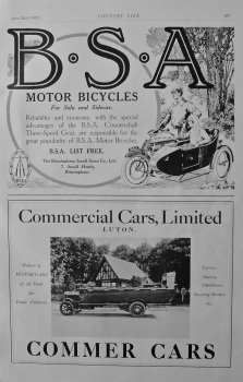 B.S.A advert and Commer Cars advert