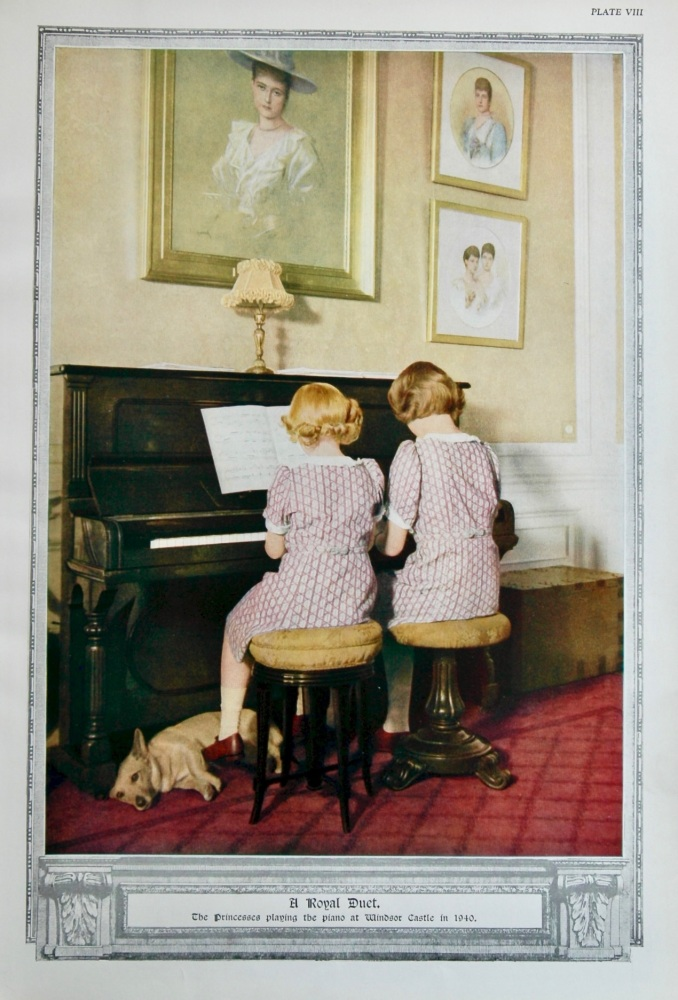 A Royal Duet. The Princesses Playing the Piano at Windsor Castle in 1940.