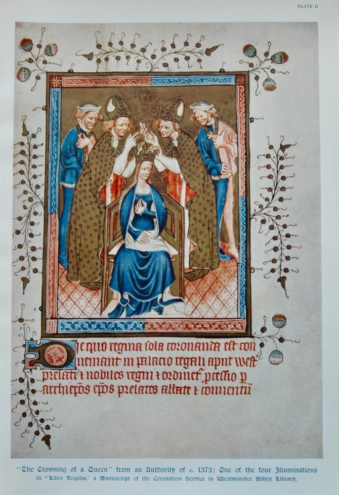 """The Crowning of a Queen"" from an Authority of c. 1373 : One of the four Illuminations in ""Liber Regalia,"" a Manuscript of the Coronation Service in"