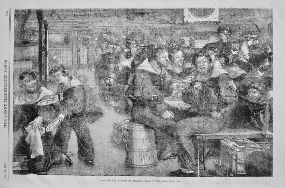 A Christmas Dinner on Board a Man-O'-War.  1866.