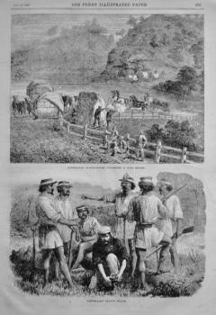 """Australian Bushrangers Attacking a Gold Escort"".  &  ""Australian Native Police."" 1866."
