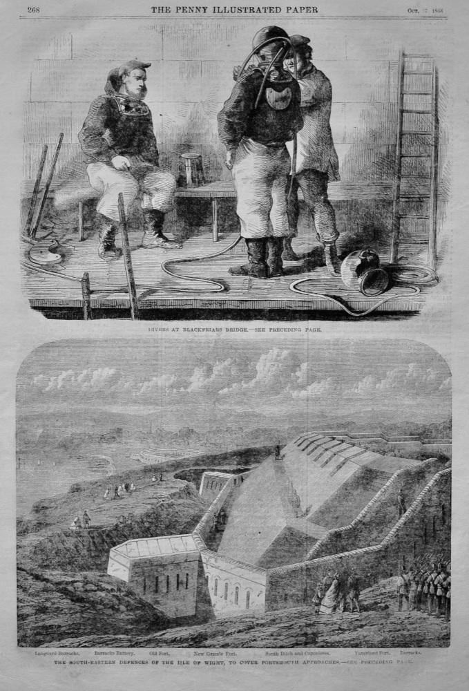 Divers at Blackfriars Bridge.  1866.