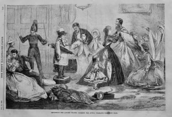 Amusement for Autumn Nights : Dressing for Acting Charades.  1866.