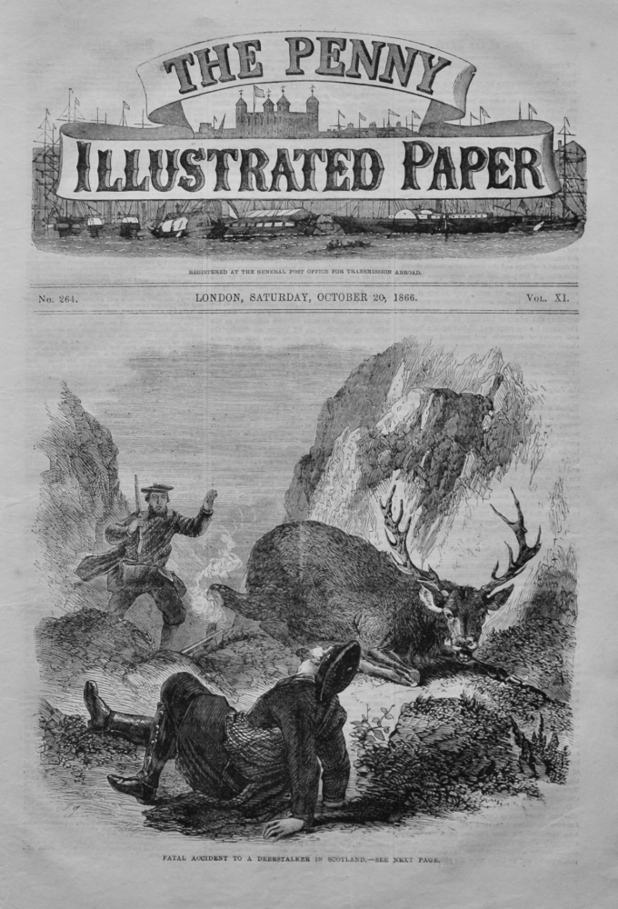 Fatal Accident to a Deerstalker in Scotland.  (Front Page) 1866.