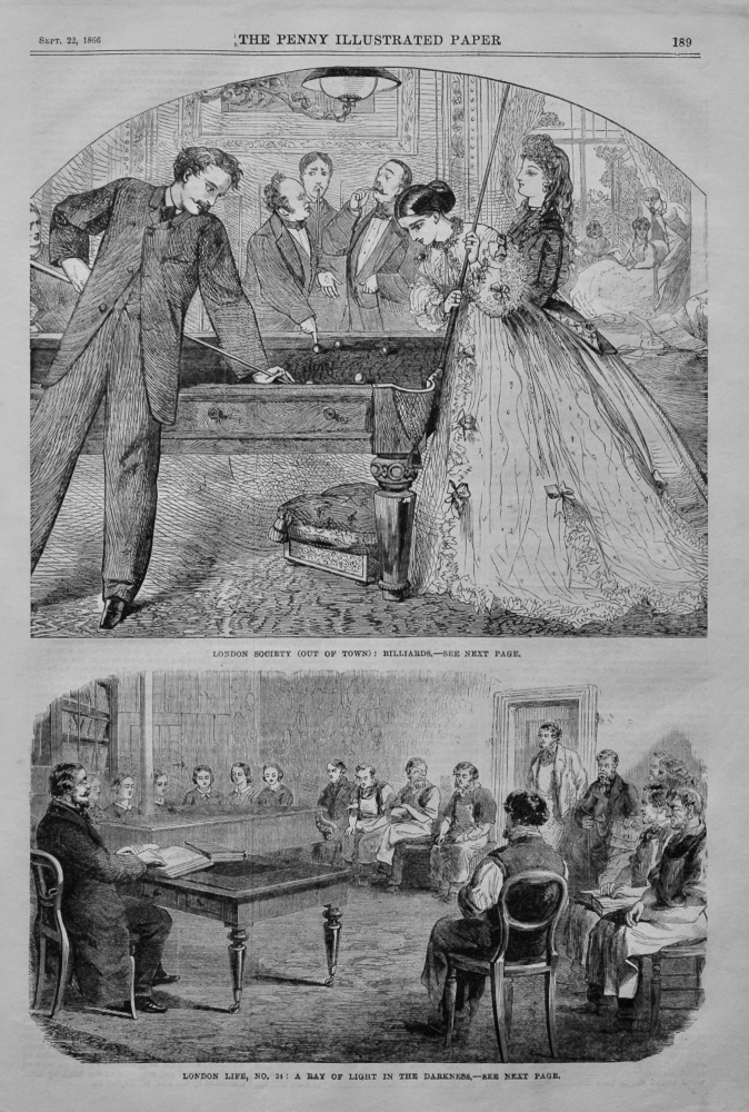 London Society (Out of Town) : Billiards.  1866.