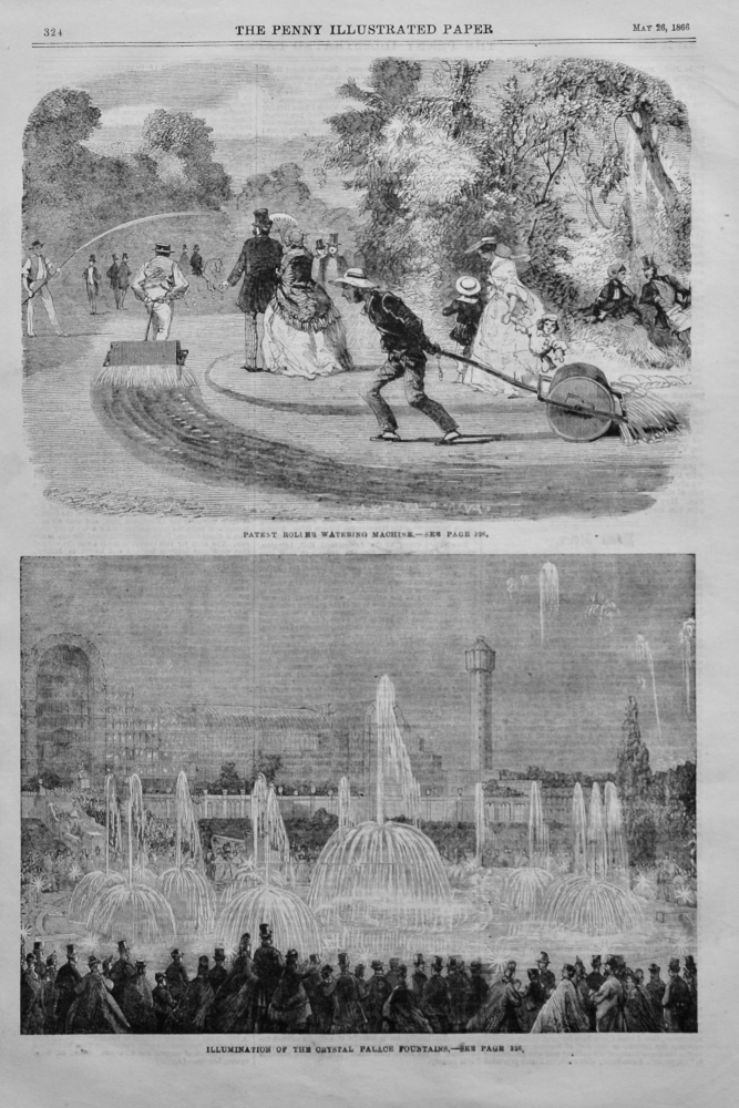 Patent Roller Watering Machine.  1866.
