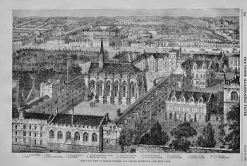 Bird's-Eye view of Exeter College and Oxford University. 1866.