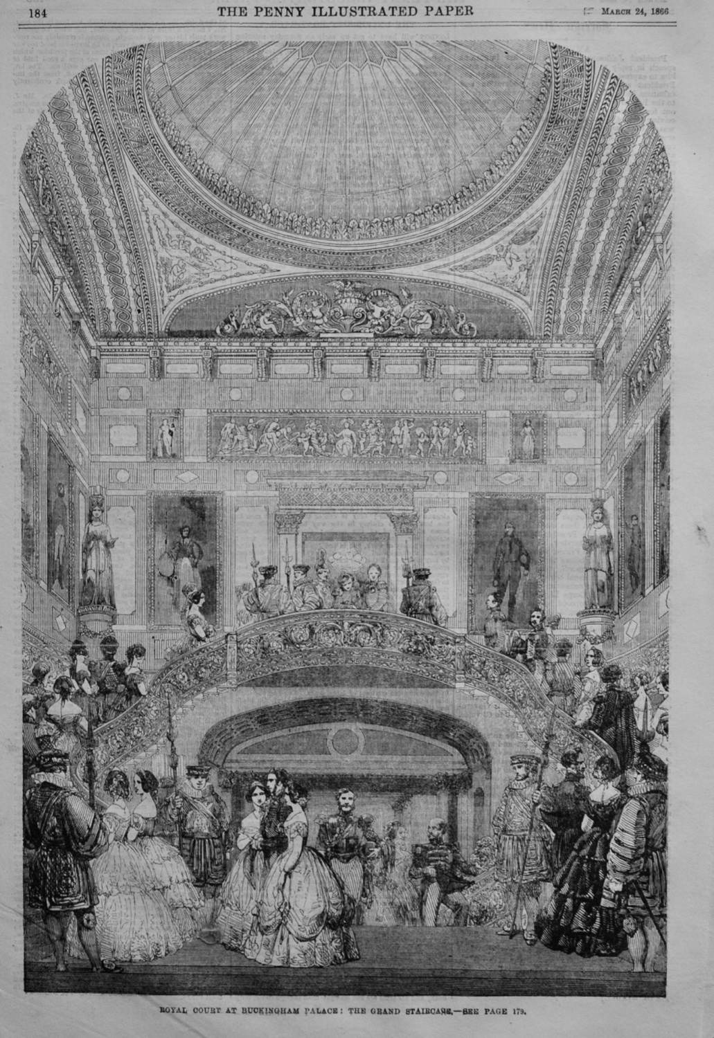 Royal Court at Buckingham Palace : The Grand Staircase.  1866.