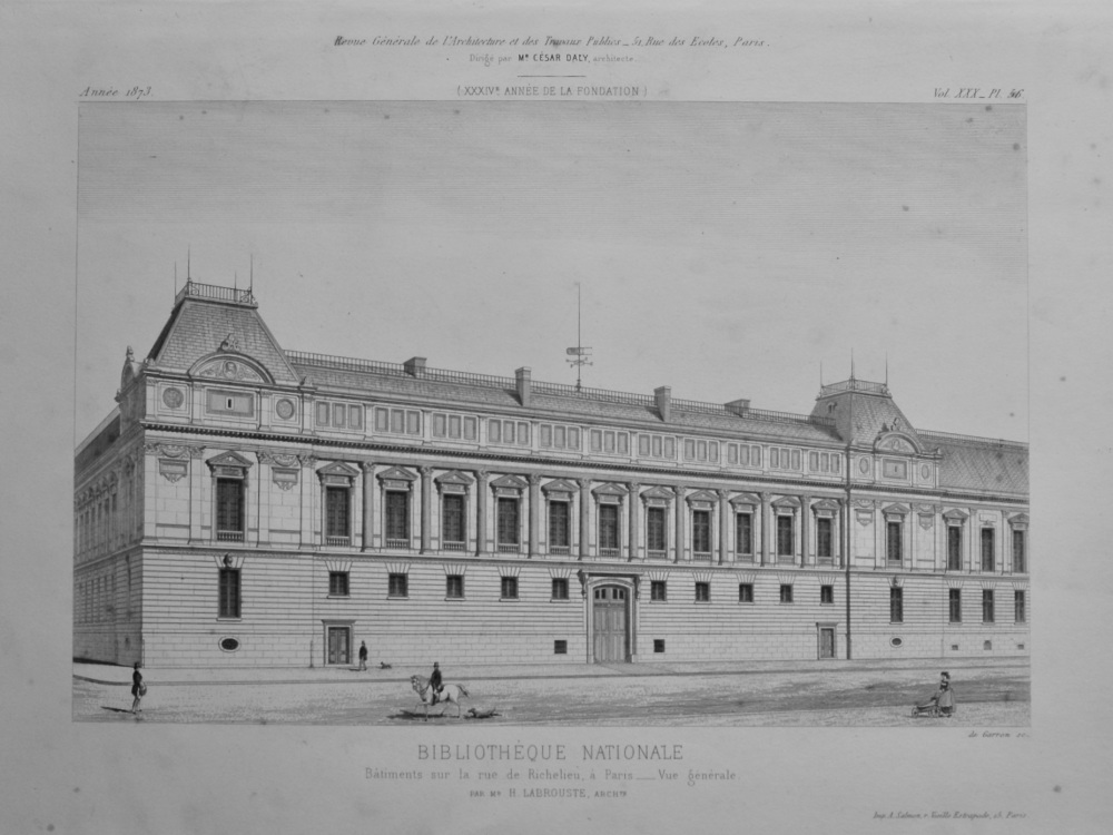 Bibliothèque Nationale, Bâtiments sur la rue de Richelieu, a Paris _Vue gererale. 1873.